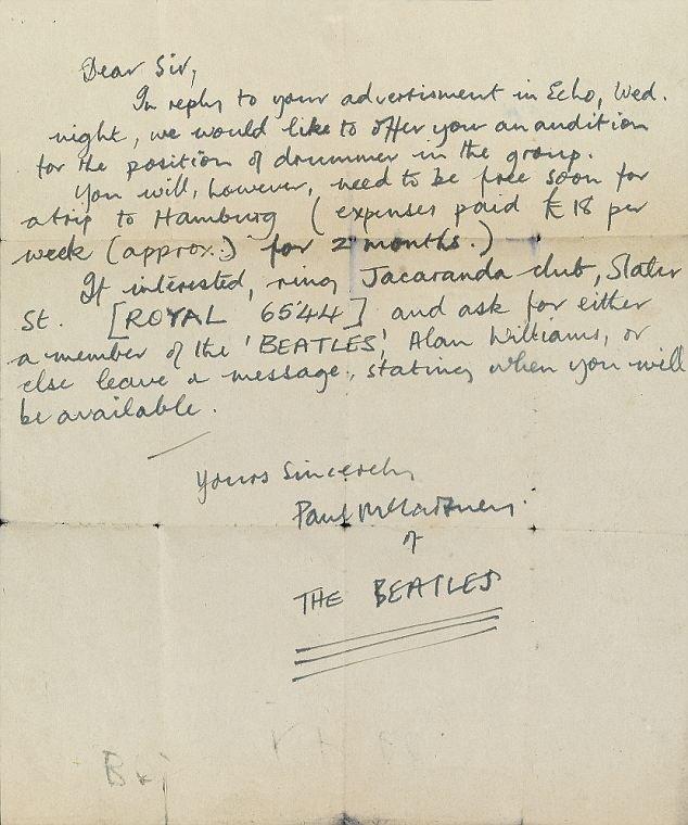 Найдено письмо Пола МакКартни 1960 года - приглашение на прослушивание ударника для The Beatles